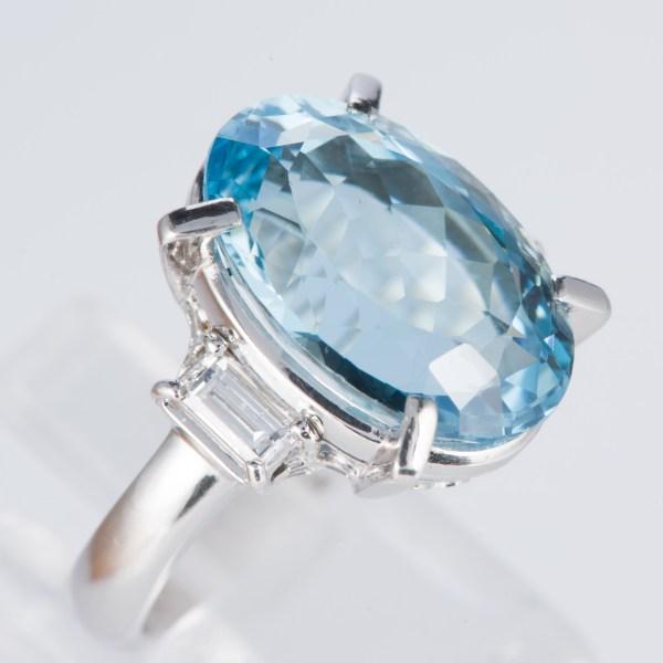 アクアマリンxダイヤモンド プラチナリング Aq: 8.55 ct D: 0.53ct Pt900