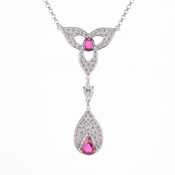 ビルマ産ピジョンブラッドルビーのネックレス プラチナ950製ルビー×ダイヤモンドプラチナ製ネックレス Pt950 R:3.45ct D:3.42ct