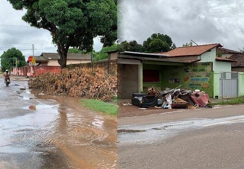 Lixo e entulho descartado de forma irregular prejudicam escoamento das águas das chuvas | Foto: SEMUC