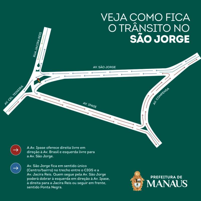 Prefeitura reforça que trecho da avenida São Jorge terá sentido único a partir desta terça