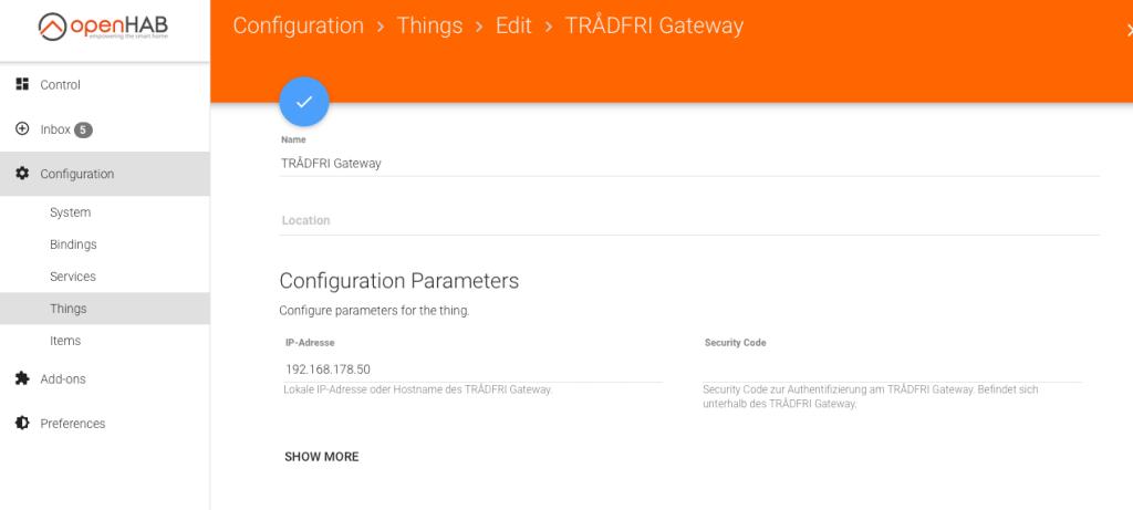 Ikea Tradfri Binding openHAB - Gateway konfigurieren
