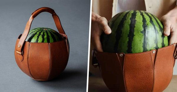 This Leather Bag Made Specifically For Carrying 1 Watermelon Will Up Your Supermarket #OOTD Game