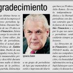 Gracias a los periodistas del diario Ámbito Financiero