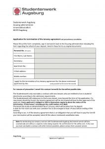 Application for termination