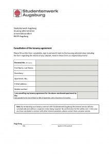 Cancellation of the tenancy agreement