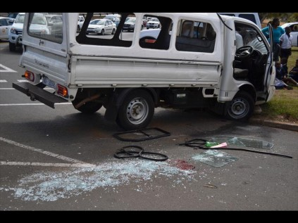The Hyundai bakkie transporting 15 primary school children after the crash on Monday afternoon PHOTOS: Steven Makhanya