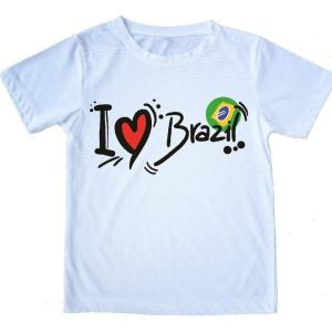 "Printed White T-Shirt - ""I Love Brazil"" - 100% Cotton - Unisex - ZumZum Capoeira Shop"