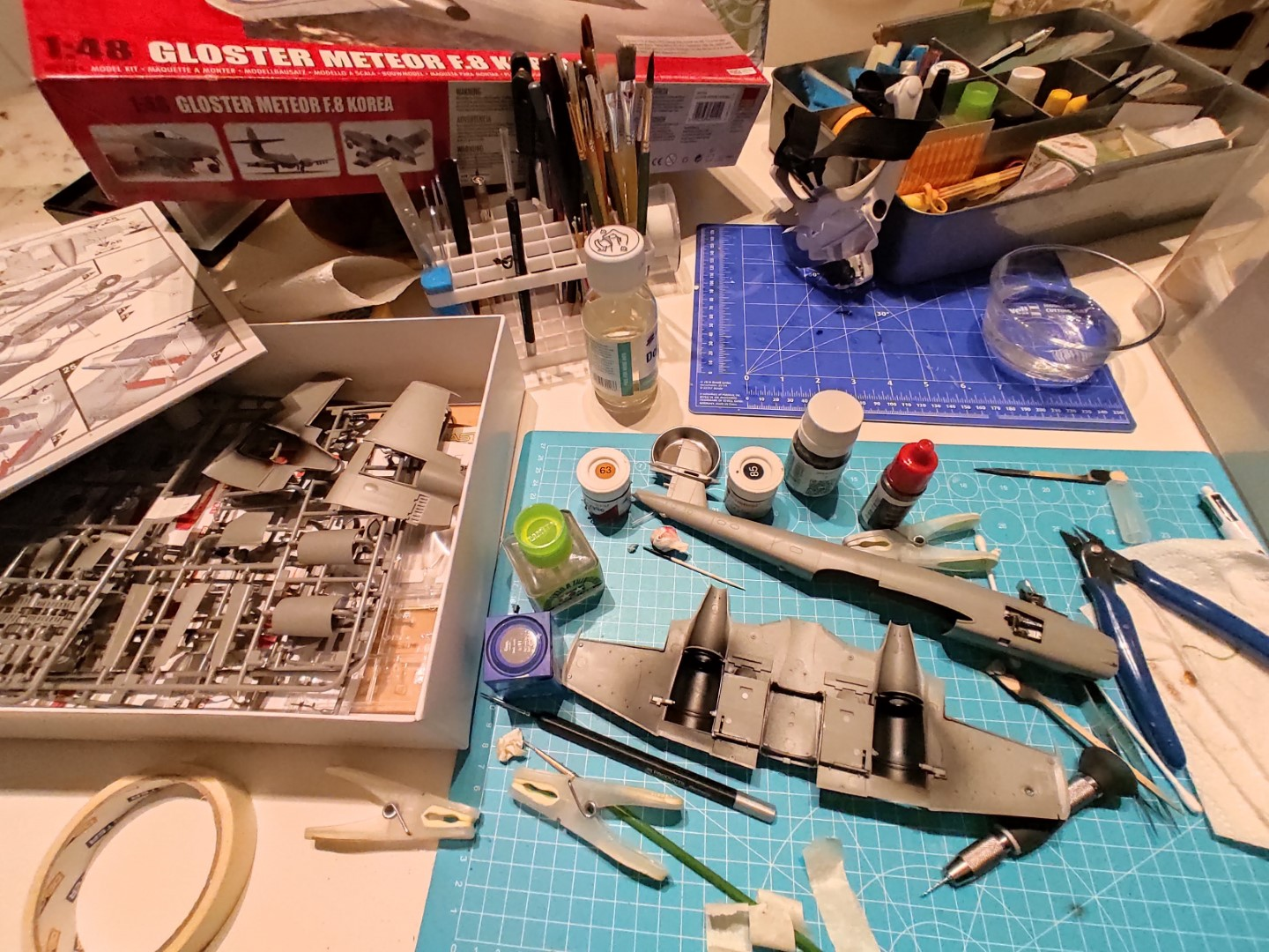 [Work-in-Progress] Airfix Gloster Meteor F.8 - The cockpit and gun bays are ready. Working on the engine nacelles.