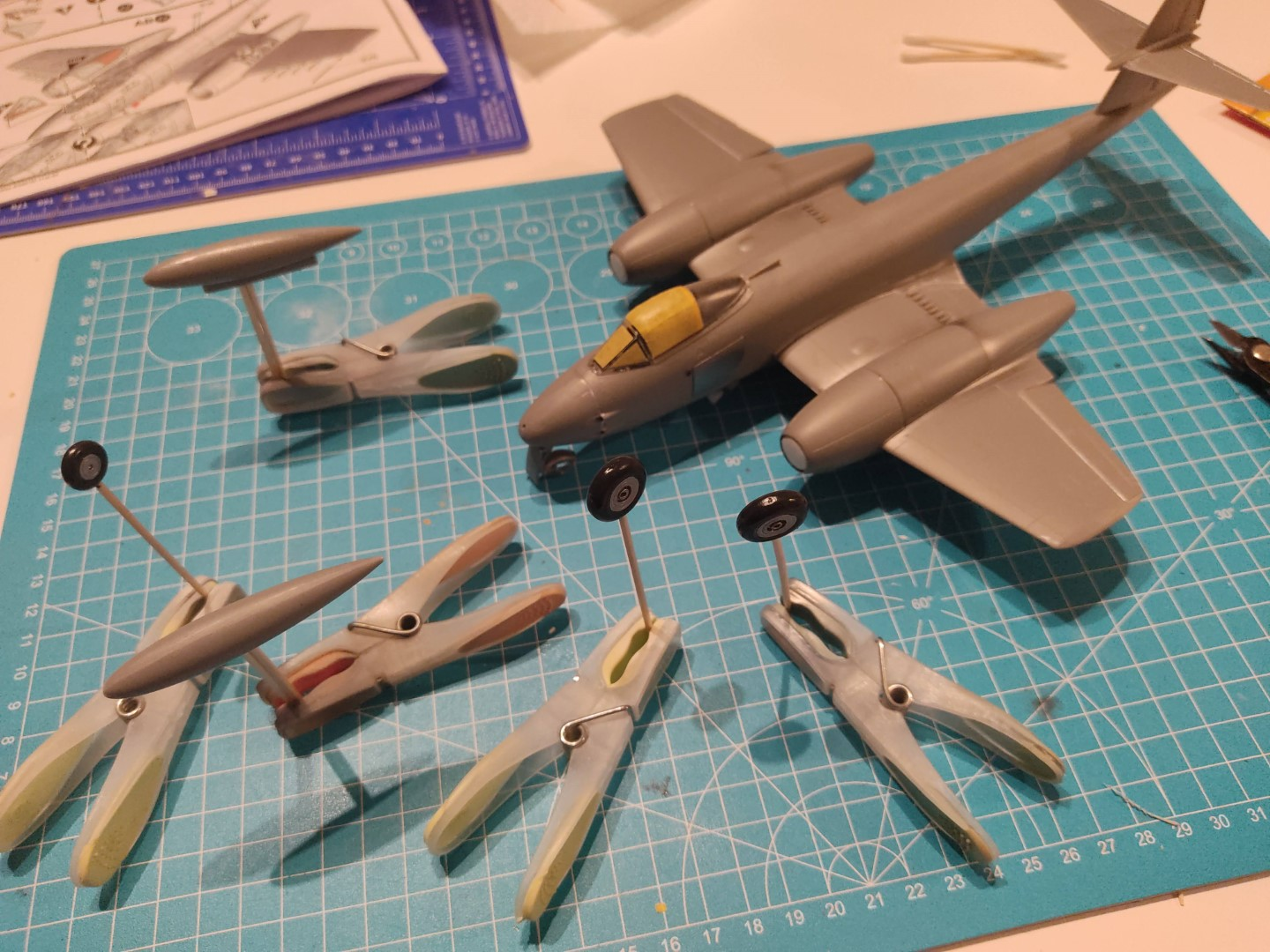 [Work-in-Progress] Airfix Gloster Meteor F.8 - The wheels are ready and the canopy is masked.