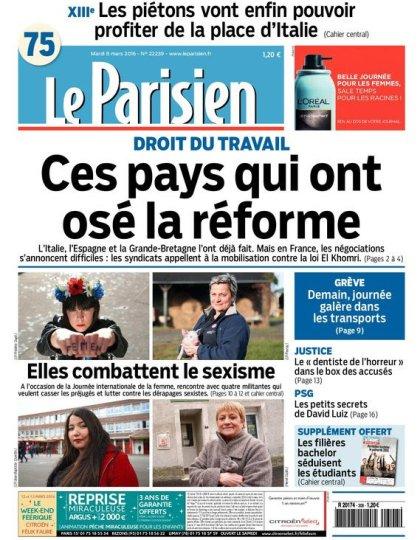 Le Parisien + Journal de Paris du mardi 08 mars 2016