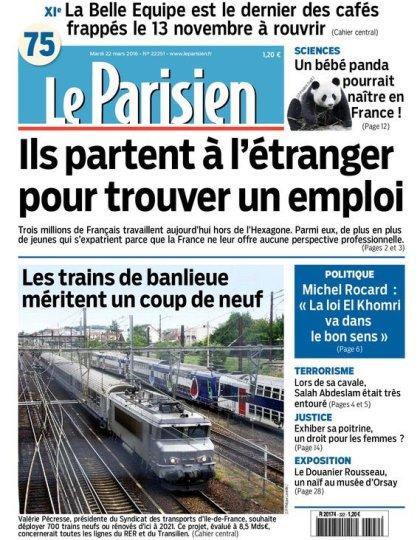 Le Parisien + Journal de Paris du mardi 22 mars 2016