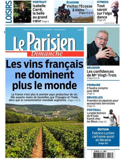 Le Parisien + Guide de votre dimanche 27 mars 2016