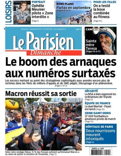 Le Parisien et Guide de votre dimanche 04 septembre 2016