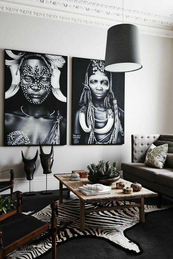 Salon d'inspiration ethnique minimaliste