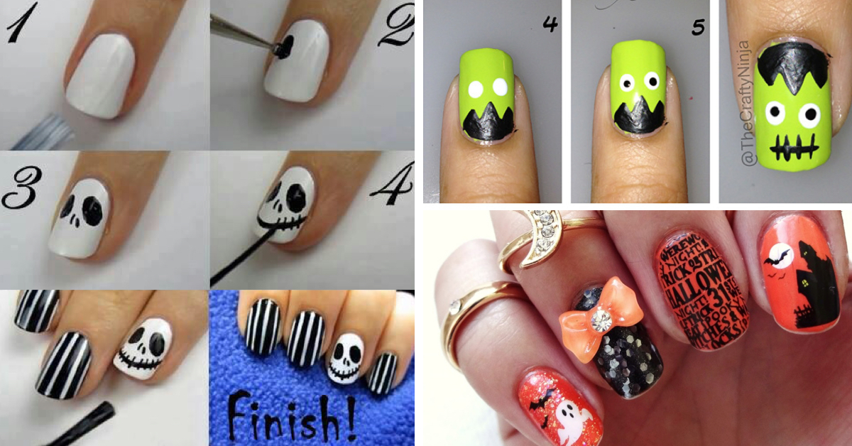 Easy To Do Halloween Nails.18 Spooky Yet Stylish Nail Art Ideas Inspired By Halloween Theme Indian Makeup And Beauty Blog Beauty Tips Eye Makeup Smokey Eyes Zuri