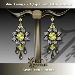 Ariel Earrings - Antique Pearl-Yellow Diamond