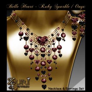 Belle Heart Set- Ruby Sparkle - Onyx