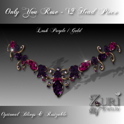 Only You Rose V2 Lush Purple-Gold Head Piece