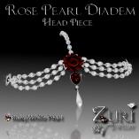 Zuri Rayna~ Rose Pearl Diadem Head piece-Ruby_WhitePIC