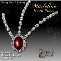 Madeline Head piece-Cherry Wine-Sterling
