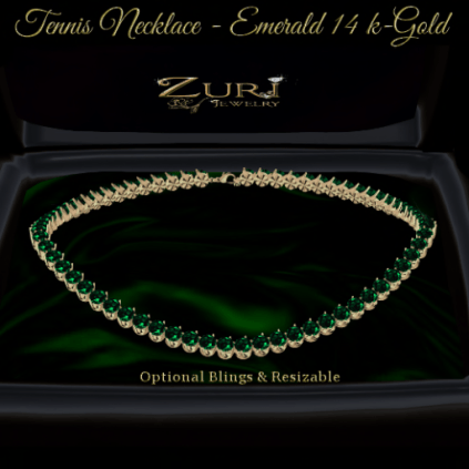 Tennis Necklace - Emerald-14K Gold