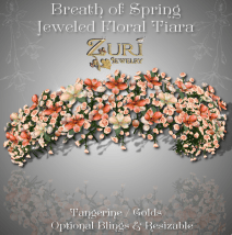 Breath of Spring Jeweled Floral Tiara - Tangerine-golds