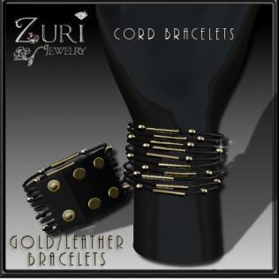 Cord Bracelets- Gold Leather