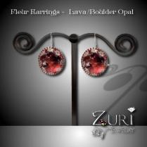 Fleur Earrings - Lava Boulder Opal
