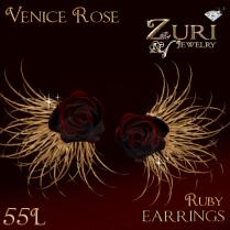 Venice Rose Ruby Earrings 55L