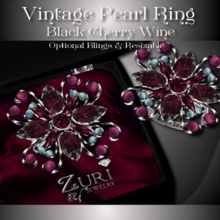 Vintage Pearl Ring - Black Cherry Wine
