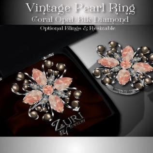 Vintage Pearl Ring - Coral Opal-Blk Diamond