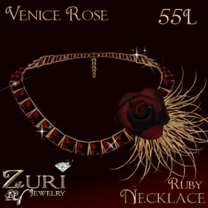 Zuri Rayna~Venice Rose Ruby Necklace