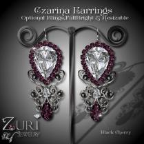 Czarina Black Cherry-Black Earrings