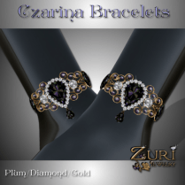 Czarina Bracelets - Plum Diamond Gold