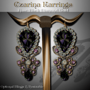 Czarina Earrings - Rose-Blk Dia-Gold