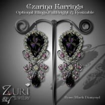 Czarina Earrings Rose-Blk Diamond
