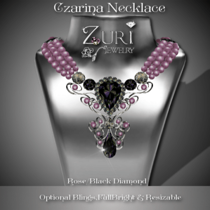 Czarina Necklace Rose-Blk Diamond