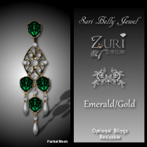 Sari Belly Jewel - Emerald-Gold