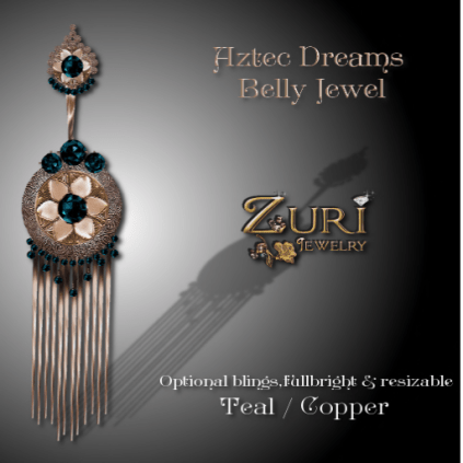 Zuri Rayna~Aztec Dreams Belly Jewel - Teal_CopperPIC