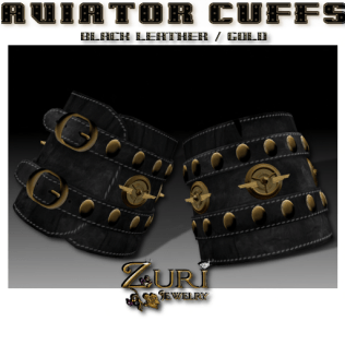 Aviator Cuffs- Black Leather-Gold