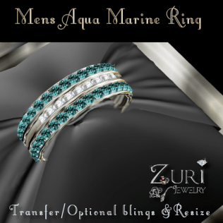 Mens Aqua Marine Ring-Zuri Jewelry
