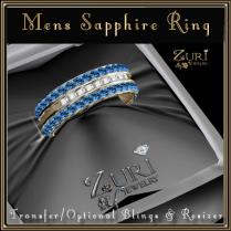 Mens Sapphire Diamond Gold RIng-Zuri Jewelry