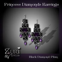 Princess Diamonds Earrings - Black Diamond-Plum