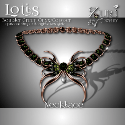 Zuri Rayna - Lotis Necklace - Boulder Green Onyx-CopperPIC