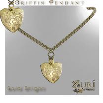 Zuri Rayna~ Unisex Griffin Pendant Gold BrightPIC