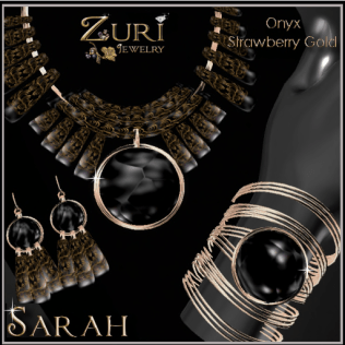 Zuri Rayna~Sarah Collection Onyx_Strawberry GoldPIC