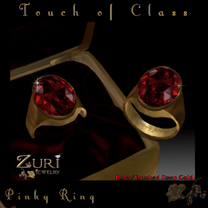 Zuri Rayna~Touch of Class Pinky Ring-Ruby-Deep GoldPIC