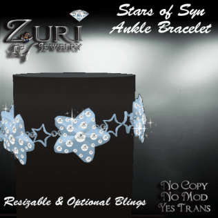 Zuri's Stars of Syn Ankle Bracelet BabyBlue DiamondPIC