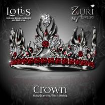 Lotis Crown - Ruby_Diamond - Black Sterling