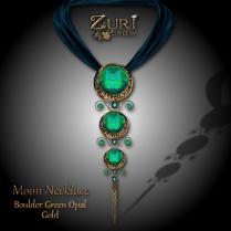 Moon Necklace - Boulder Green Opal_Gold